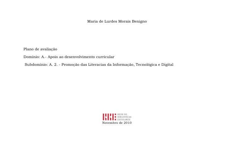 Plano de avaliação do Domínio  A.2. Promoção da literacia da informação, tecnológica e digital