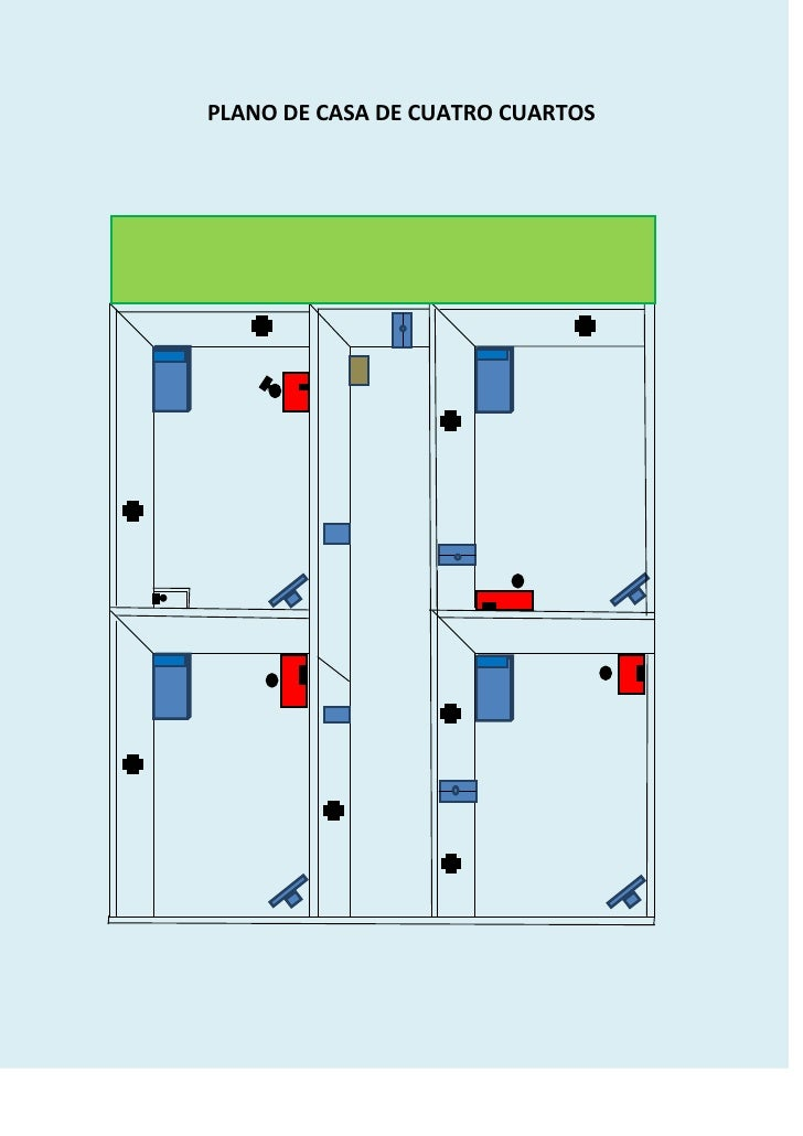 Plano de casa de cuatro cuartos