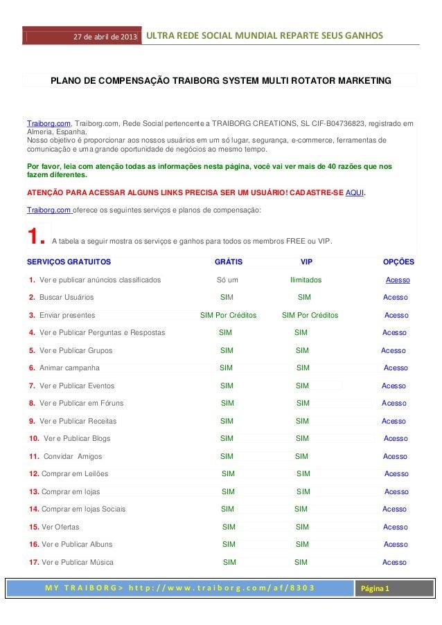 27 de abril de 2013 ULTRA REDE SOCIAL MUNDIAL REPARTE SEUS GANHOSM Y T R A I B O R G > h t t p : / / w w w . t r a i b o r...