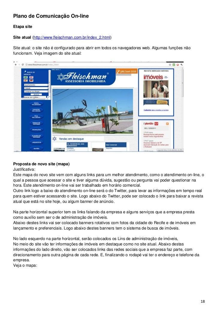 Plano de Comunicação On-lineEtapa siteSite atual (http://www.fleischman.com.br/index_2.html)Site atual: o site não é confi...