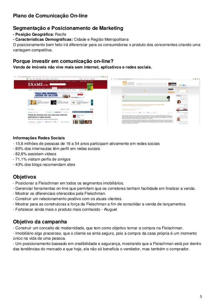 Plano de Comunicação On-lineSegmentação e Posicionamento de Marketing- Posição Geográfica: Recife- Características Demográ...