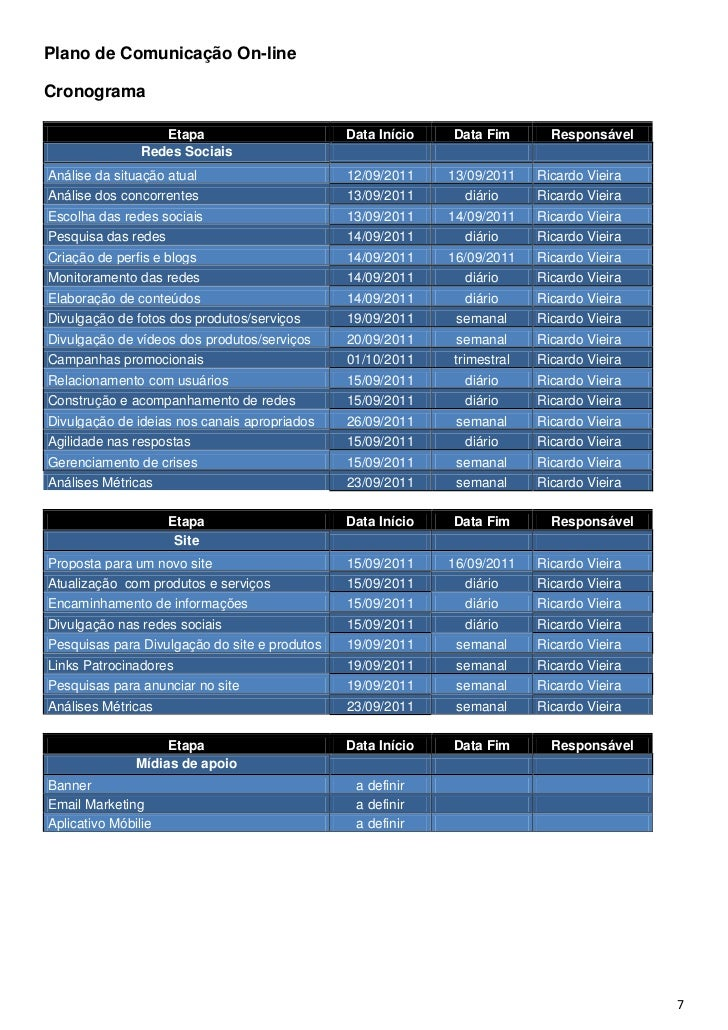 Plano de Comunicação On-lineCronograma                   Etapa                       Data Início   Data Fim       Responsá...