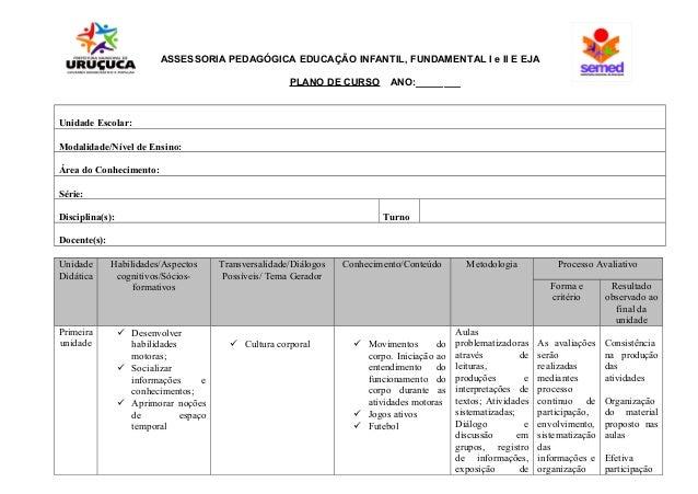 ASSESSORIA PEDAGÓGICA EDUCAÇÃO INFANTIL, FUNDAMENTAL I e II E EJA PLANO DE CURSO ANO:________ Unidade Escolar: Modalidade/...