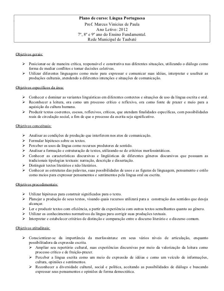 Plano de curso: Língua Portuguesa                                          Prof. Marcus Vinicius de Paula                 ...