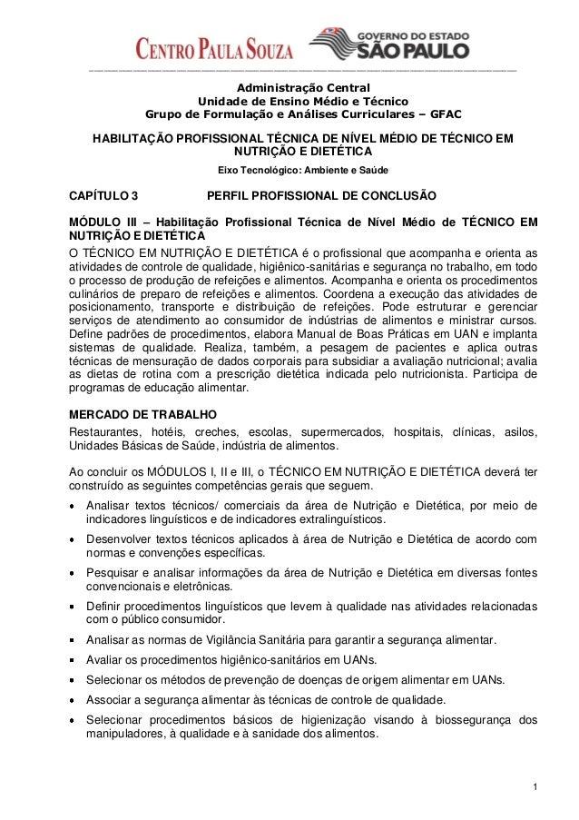 Plano de curso tec nutrição e dietética 2013 etec Ubatuba