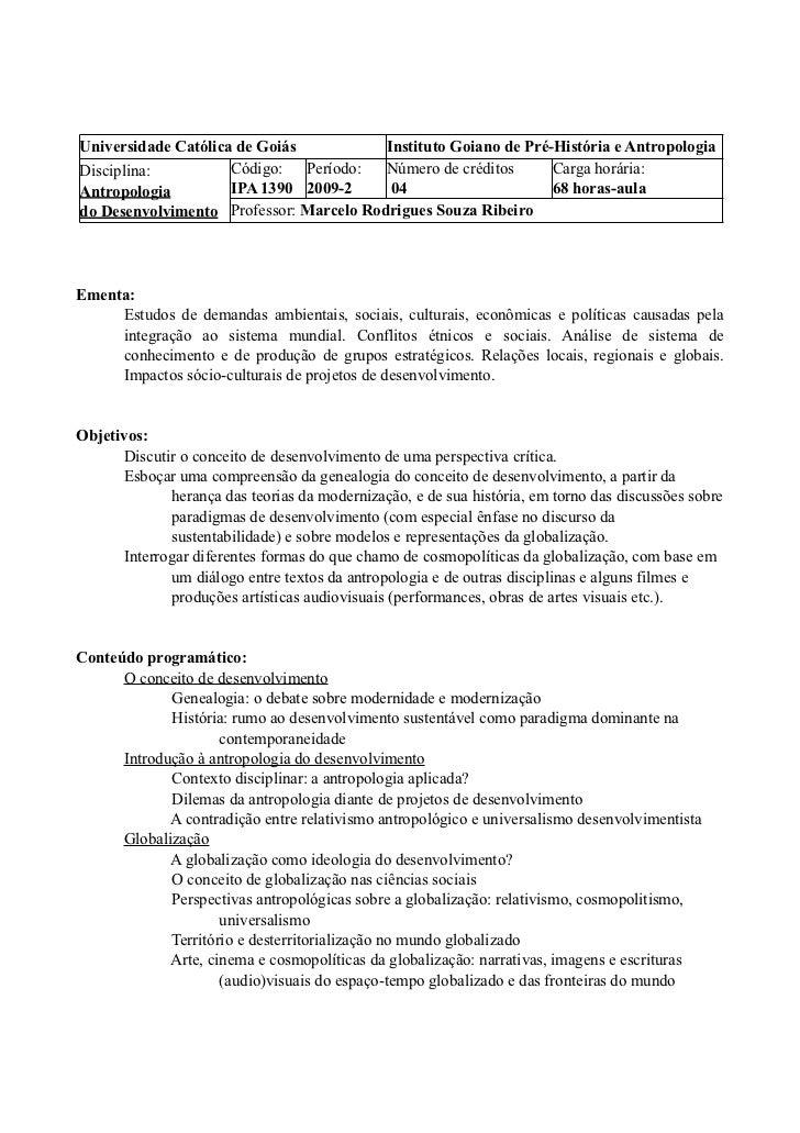 Universidade Católica de Goiás           Instituto Goiano de Pré-História e AntropologiaDisciplina:          Código: Perío...