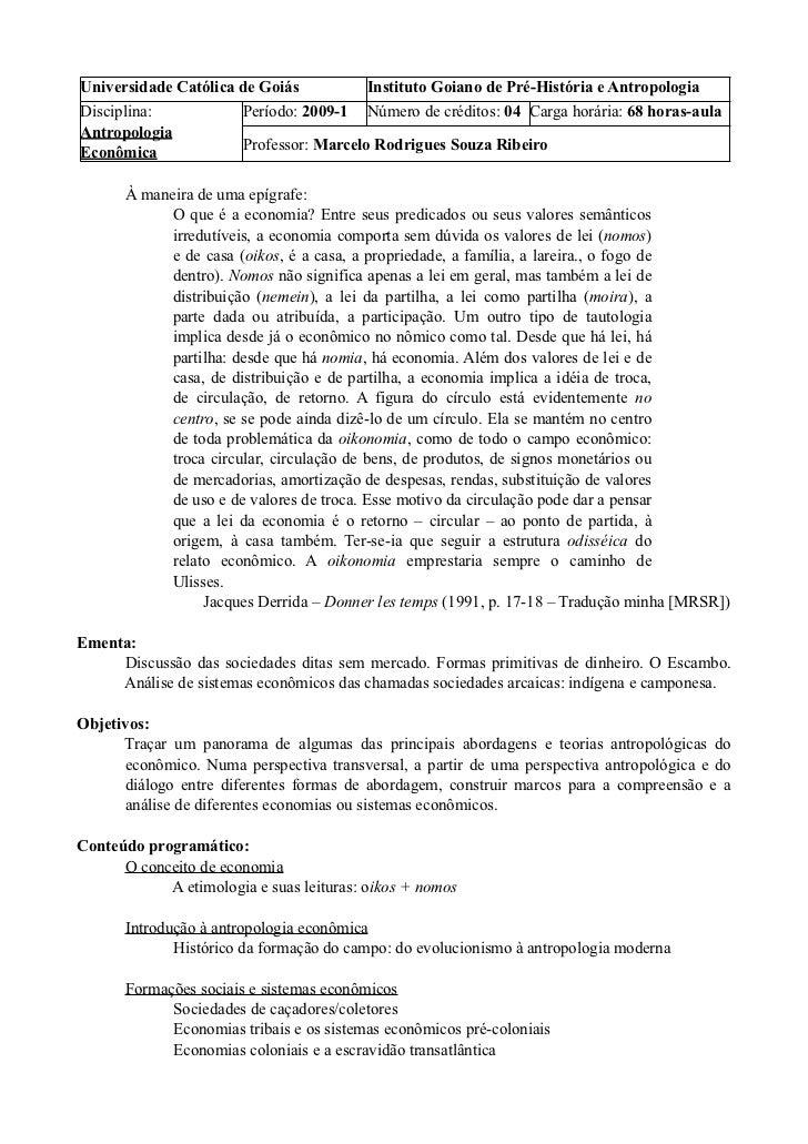 Universidade Católica de Goiás          Instituto Goiano de Pré-História e AntropologiaDisciplina:           Período: 2009...