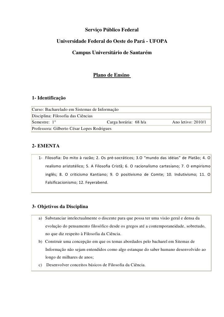 Serviço Público Federal               Universidade Federal do Oeste do Pará - UFOPA                        Campus Universi...