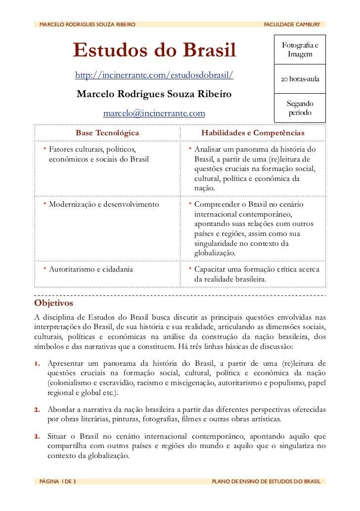 MARCELO RODRIGUES SOUZA RIBEIRO                                       FACULDADE CAMBURY              Estudos do Brasil  ...