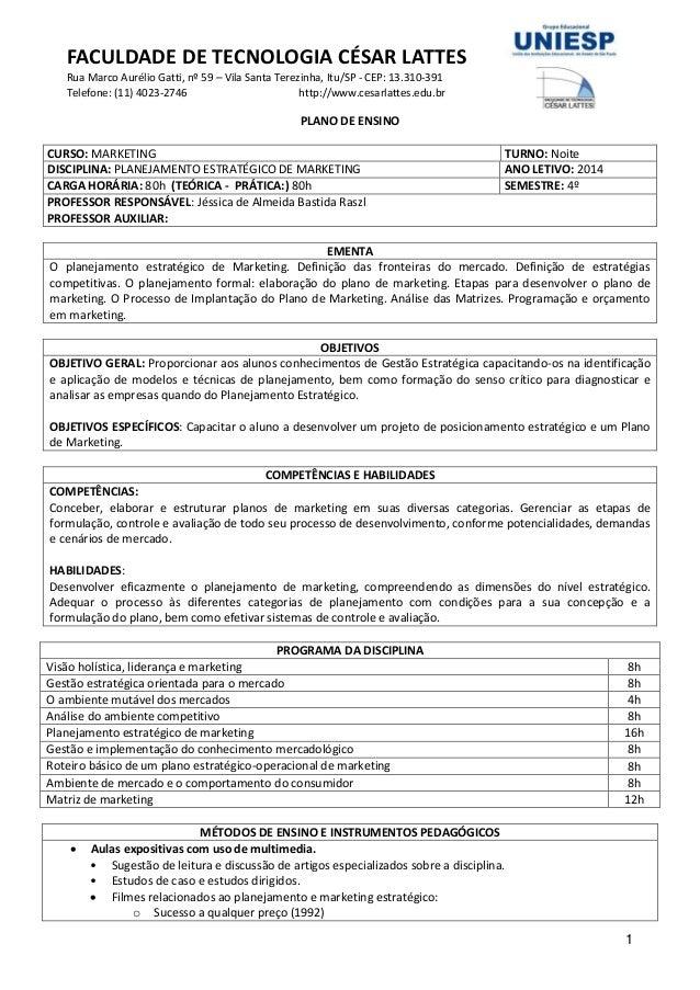 FACULDADE DE TECNOLOGIA CÉSAR LATTES Rua Marco Aurélio Gatti, nº 59 – Vila Santa Terezinha, Itu/SP - CEP: 13.310-391 Telef...