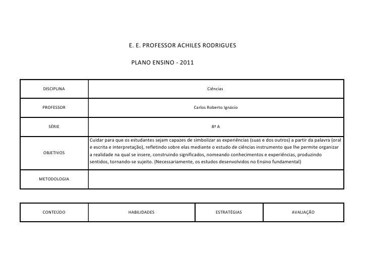 E. E. PROFESSOR ACHILES RODRIGUES                                 PLANO ENSINO - 2011 DISCIPLINA                          ...