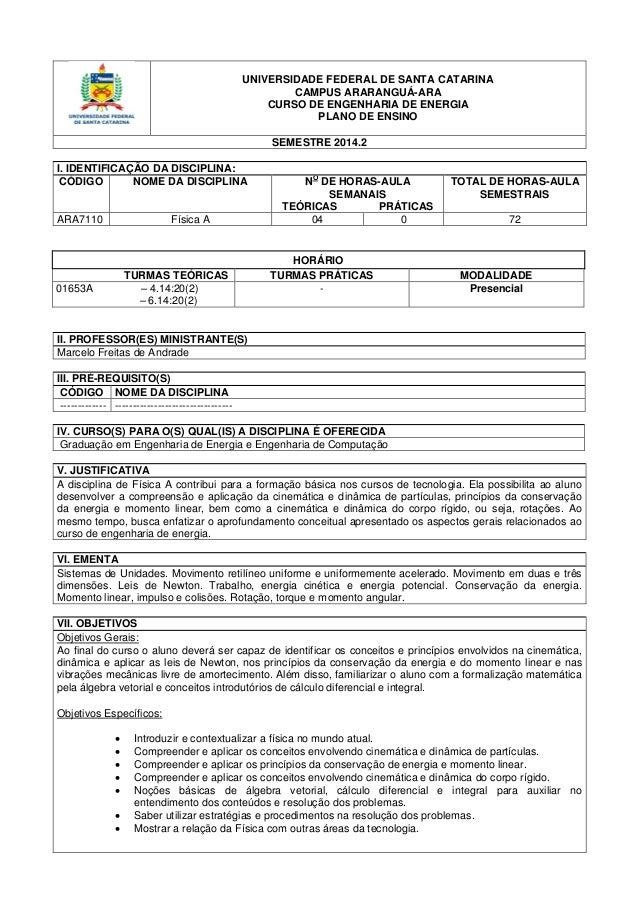 UNIVERSIDADE FEDERAL DE SANTA CATARINA  CAMPUS ARARANGUÁ-ARA  CURSO DE ENGENHARIA DE ENERGIA  PLANO DE ENSINO  SEMESTRE 20...