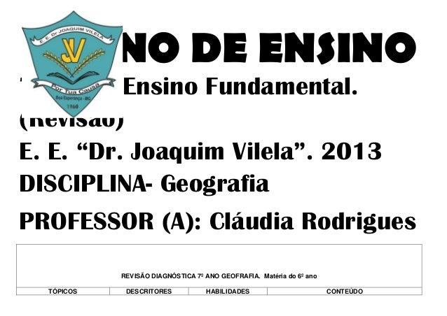 """PLANO DE ENSINO7º ano – Ensino Fundamental.(Revisão)E. E. """"Dr. Joaquim Vilela"""". 2013DISCIPLINA- GeografiaPROFESSOR (A): Cl..."""