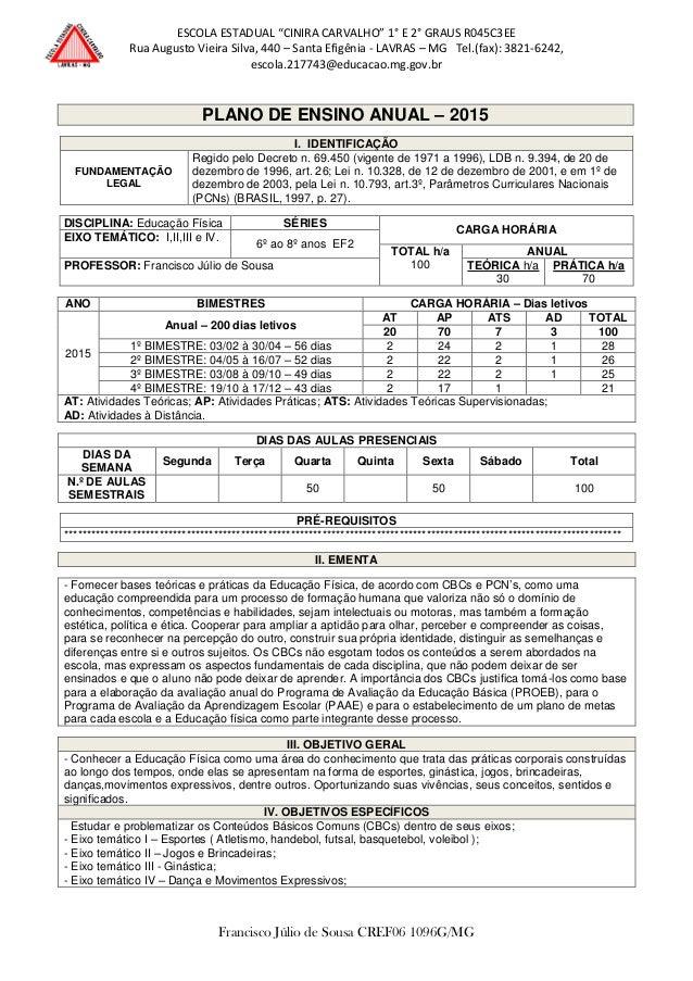 """ESCOLA ESTADUAL """"CINIRA CARVALHO"""" 1° E 2° GRAUS R045C3EE Rua Augusto Vieira Silva, 440 – Santa Efigênia - LAVRAS – MG Tel...."""