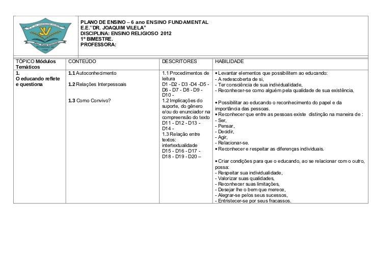 PLANO DE ENSINO – 6 ano ENSINO FUNDAMENTAL                          E.E.''DR. JOAQUIM VILELA''                          DI...