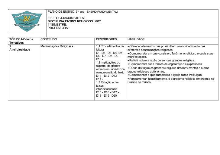 PLANO DE ENSINO -9º ano - ENSINO FUNDAMENTAL)                       E.E.''DR. JOAQUIM VILELA''                       DISCI...