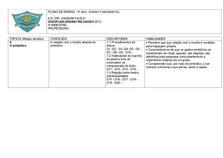 PLANO DE ENSINO - 9º ANO - ENSINO FUNDAMENTAL                          E.E.''DR. JOAQUIM VILELA''                         ...