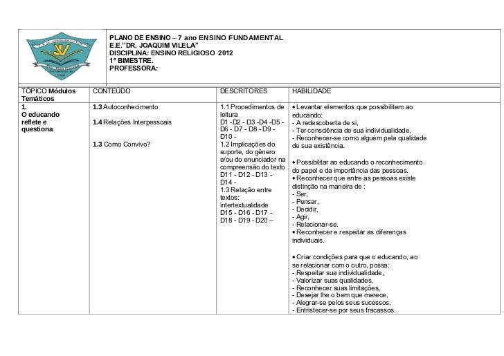 PLANO DE ENSINO – 7 ano ENSINO FUNDAMENTAL                      E.E.''DR. JOAQUIM VILELA''                      DISCIPLINA...