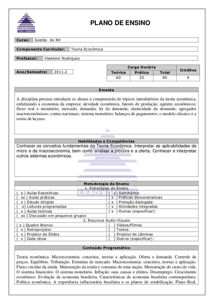 Curso:Gestão  de RH<br />Componente Curricular:Teoria Econômica<br />Professor:Vlademir Rodrigues<br />Carga HoráriaCrédit...