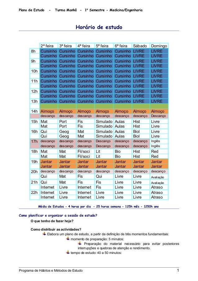 Plano de Estudo - Turma Manhã - 1⁰ Semestre - Medicina/Engenharia Horário de estudo 2ª feira 3ª feira 4ª feira 5ª feira 6ª...