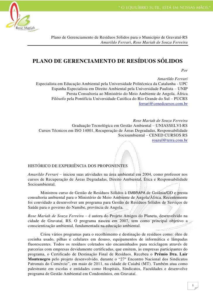 Plano de Gerenciamento de Resíduos Sólidos para o Município de Gravataí-RS                                       Amarildo ...
