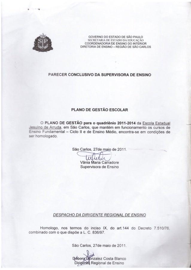 Plano de Gestão 2011/2014 E. E. Jesuino de Arruda
