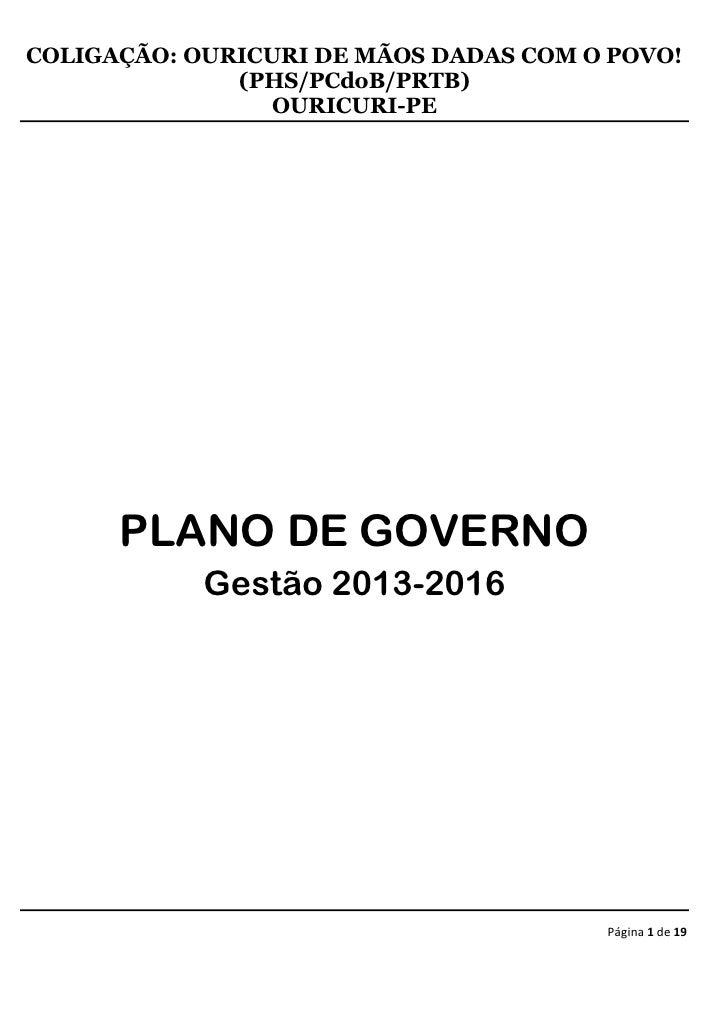 COLIGAÇÃO: OURICURI DE MÃOS DADAS COM O POVO!              (PHS/PCdoB/PRTB)                 OURICURI-PE      PLANO DE GOVE...
