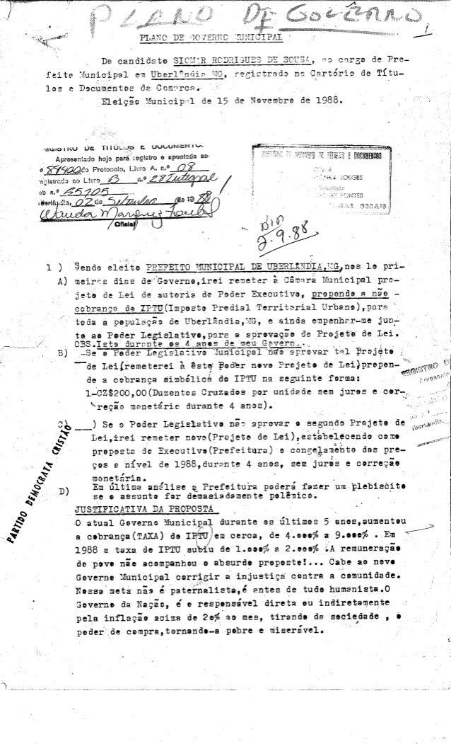 Plano de governo Siomar 1988