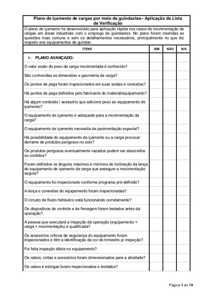 Plano de içamento de cargas por meio de guindastes– Aplicação de Lista                                   de VerificaçãoO p...