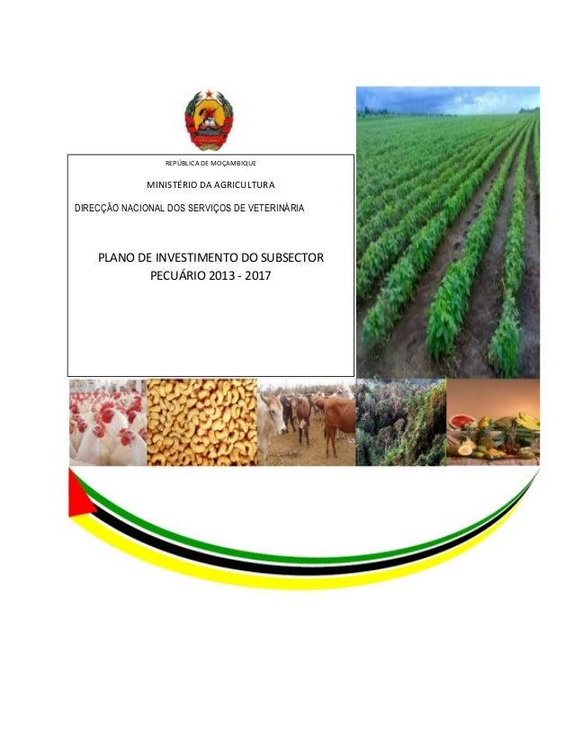 REPÚBLICA DE MOÇAMBIQUE MINISTÉRIO DA AGRICULTURA DIRECÇÃO NACIONAL DOS SERVIÇOS DE VETERINÁRIA PLANO DE INVESTIMENTO DO S...