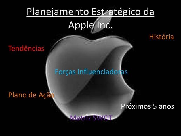 Planejamento Estratégico da Apple Inc. História Tendências Forças Influenciadoras Plano de Ação Próximos 5 anos Matriz SWOT