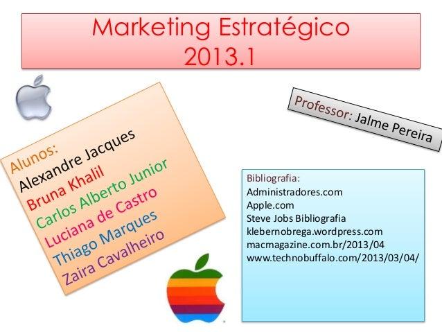 Marketing Estratégico 2013.1 Bibliografia: Administradores.com Apple.com Steve Jobs Bibliografia klebernobrega.wordpress.c...