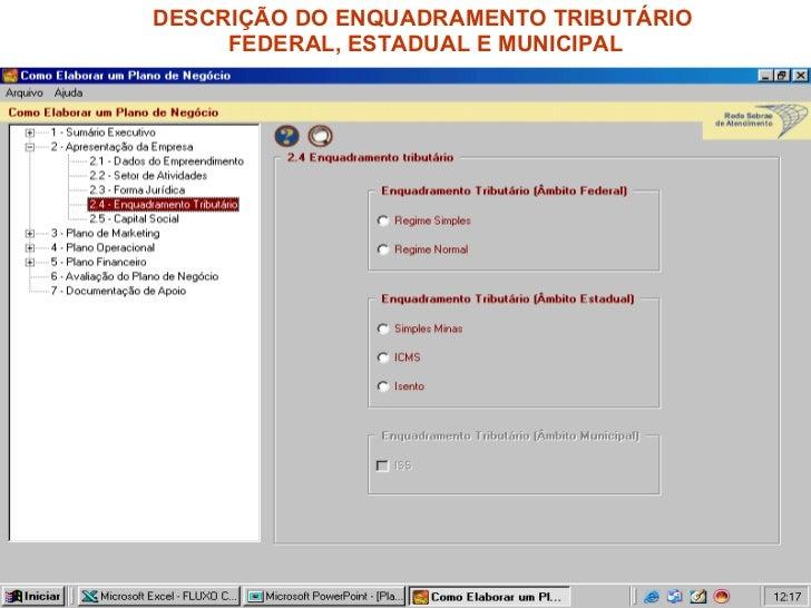 DESCRIÇÃO DO ENQUADRAMENTO TRIBUTÁRIO  FEDERAL, ESTADUAL E MUNICIPAL
