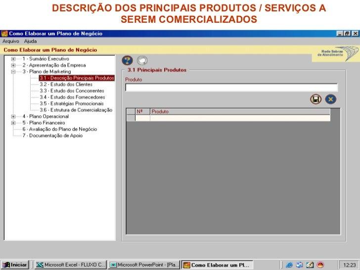 DESCRIÇÃO DOS PRINCIPAIS PRODUTOS / SERVIÇOS A SEREM COMERCIALIZADOS