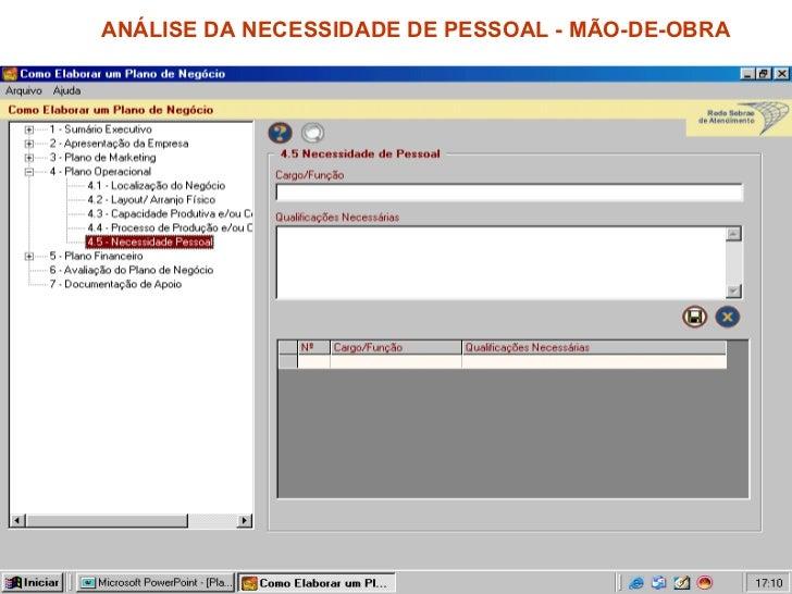 ANÁLISE DA NECESSIDADE DE PESSOAL - MÃO-DE-OBRA