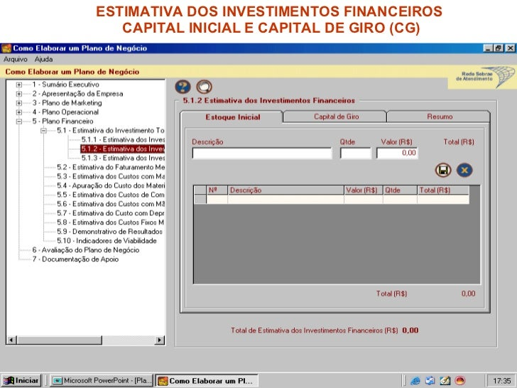 ESTIMATIVA DOS INVESTIMENTOS FINANCEIROS  CAPITAL INICIAL E CAPITAL DE GIRO (CG)