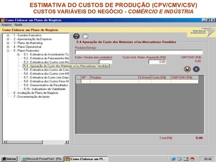 ESTIMATIVA DO CUSTOS DE PRODUÇÃO (CPV/CMV/CSV) CUSTOS VARIÁVEIS DO NEGÓCIO -  COMÉRCIO E INDÚSTRIA