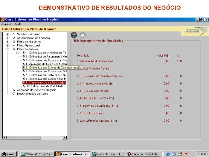 DEMONSTRATIVO DE RESULTADOS DO NEGÓCIO