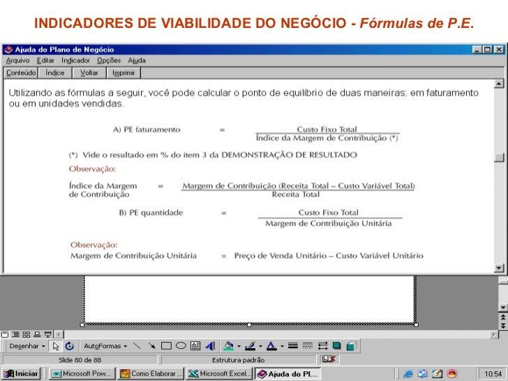 INDICADORES DE VIABILIDADE DO NEGÓCIO -  Fórmulas de P.E.
