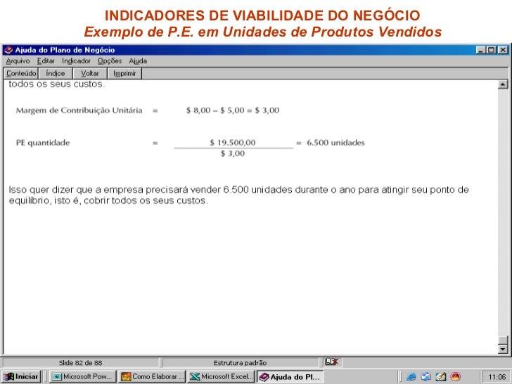 INDICADORES DE VIABILIDADE DO NEGÓCIO  Exemplo de P.E. em Unidades de Produtos Vendidos
