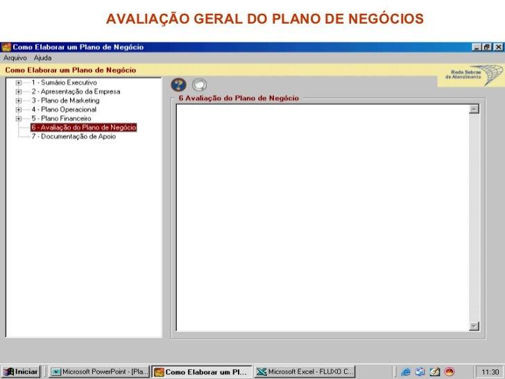 AVALIAÇÃO GERAL DO PLANO DE NEGÓCIOS
