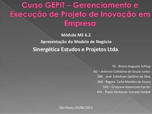 Módulo ME 6.2Apresentação do Modelo de NegócioSinergética Estudos e Projetos Ltda.76 - Bruno Augusto Schlup60 – Antenor Ce...