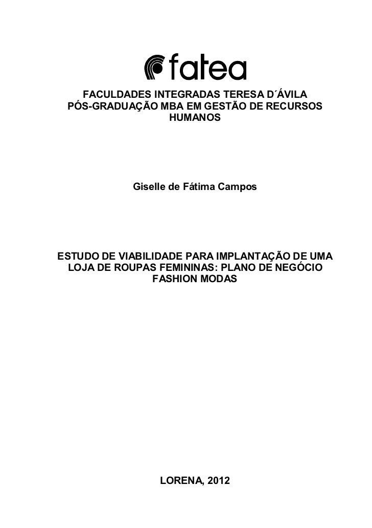 FACULDADES INTEGRADAS TERESA D´ÁVILA PÓS-GRADUAÇÃO MBA EM GESTÃO DE RECURSOS                 HUMANOS            Giselle de...
