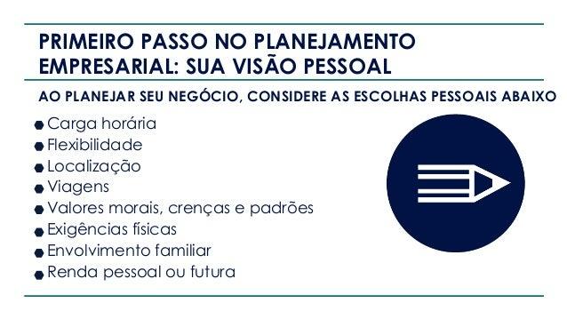 PRIMEIRO PASSO NO PLANEJAMENTO EMPRESARIAL: SUA VISÃO PESSOAL AO PLANEJAR SEU NEGÓCIO, CONSIDERE AS ESCOLHAS PESSOAIS ABAI...