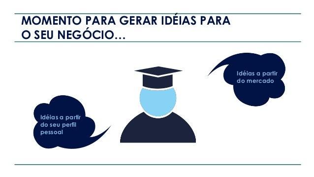 MOMENTO PARA GERAR IDÉIAS PARA O SEU NEGÓCIO… Idéias a partir do seu perfil pessoal Idéias a partir do mercado