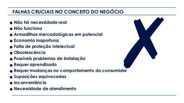 FALHAS CRUCIAIS NO CONCEITO DO NEGÓCIO Não há necessidade real Não funciona Armadilhas mercadológicas em potencial Economi...