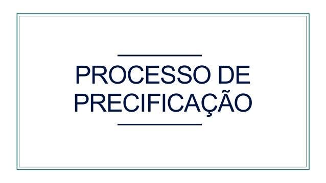 PROCESSO DE PRECIFICAÇÃO Avaliar a posição de preços e restrições Considerar as estratégias e as políticas de preço Defini...