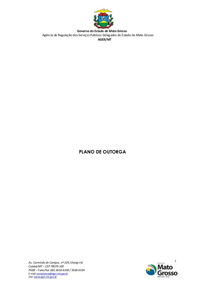 Governo do Estado de Mato Grosso Agência de Regulação dos Serviços Públicos Delegados do Estado de Mato Grosso AGER/MT Av....