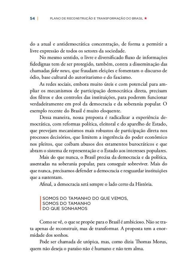   59 PLANO EMERGENCIAL DE PROTEÇÃO À VIDA E RECONSTRUÇÃO DO BRASIL: MUDANÇAS PARA O PRESENTE MEDIDAS PARA A PROTEÇÃO DA VI...