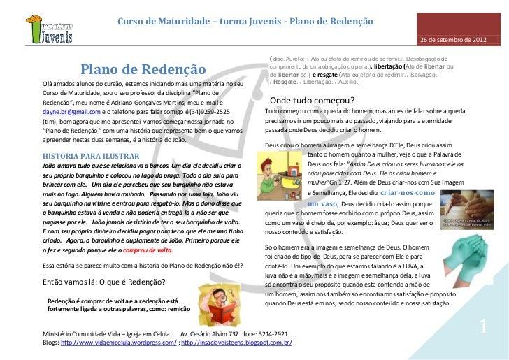 Curso de Maturidade – turma Juvenis - Plano de Redenção                                                                   ...